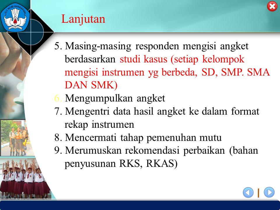 Lanjutan 5. Masing-masing responden mengisi angket berdasarkan studi kasus (setiap kelompok mengisi instrumen yg berbeda, SD, SMP. SMA DAN SMK)