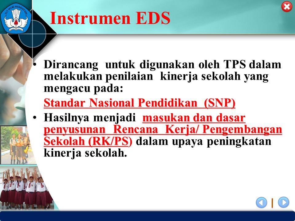 Instrumen EDS Dirancang untuk digunakan oleh TPS dalam melakukan penilaian kinerja sekolah yang mengacu pada: