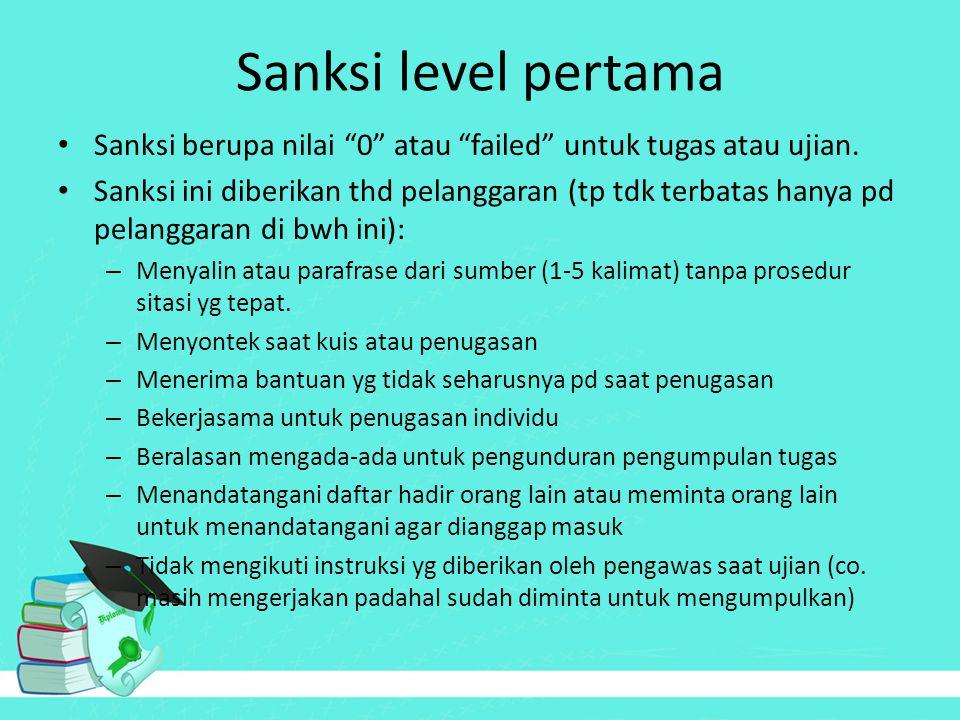Sanksi level pertama Sanksi berupa nilai 0 atau failed untuk tugas atau ujian.