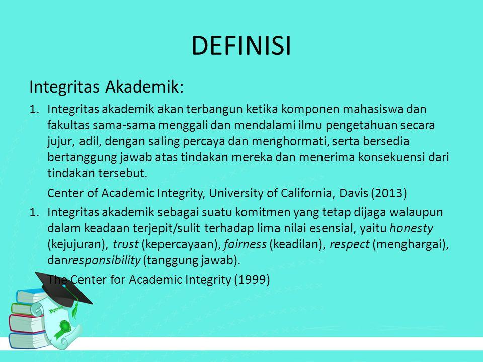DEFINISI Integritas Akademik: