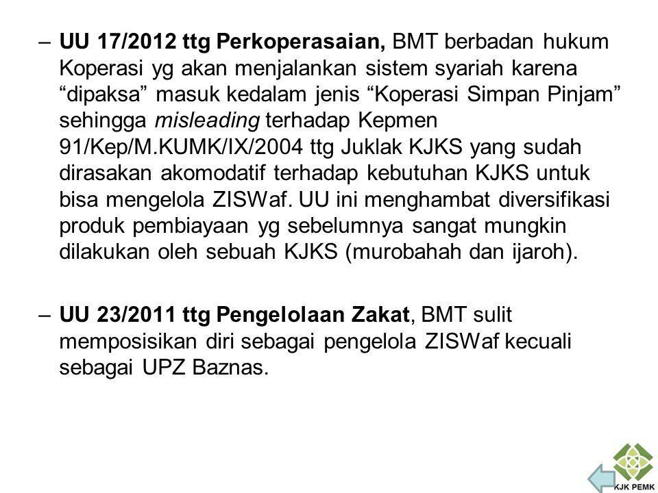 UU 17/2012 ttg Perkoperasaian, BMT berbadan hukum Koperasi yg akan menjalankan sistem syariah karena dipaksa masuk kedalam jenis Koperasi Simpan Pinjam sehingga misleading terhadap Kepmen 91/Kep/M.KUMK/IX/2004 ttg Juklak KJKS yang sudah dirasakan akomodatif terhadap kebutuhan KJKS untuk bisa mengelola ZISWaf. UU ini menghambat diversifikasi produk pembiayaan yg sebelumnya sangat mungkin dilakukan oleh sebuah KJKS (murobahah dan ijaroh).