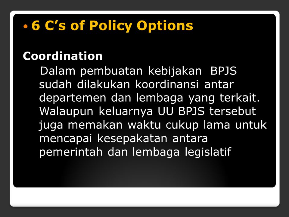 6 C's of Policy Options Coordination