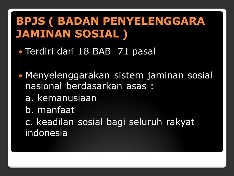 BPJS ( BADAN PENYELENGGARA JAMINAN SOSIAL )