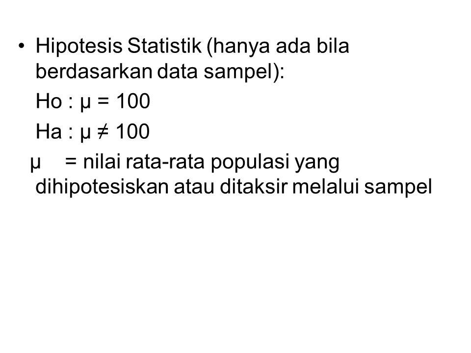 Hipotesis Statistik (hanya ada bila berdasarkan data sampel):