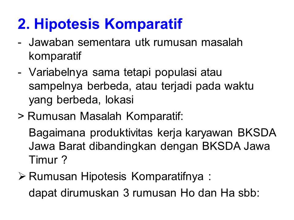 2. Hipotesis Komparatif Jawaban sementara utk rumusan masalah komparatif.
