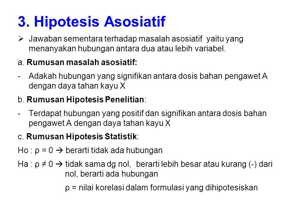 3. Hipotesis Asosiatif Jawaban sementara terhadap masalah asosiatif yaitu yang menanyakan hubungan antara dua atau lebih variabel.