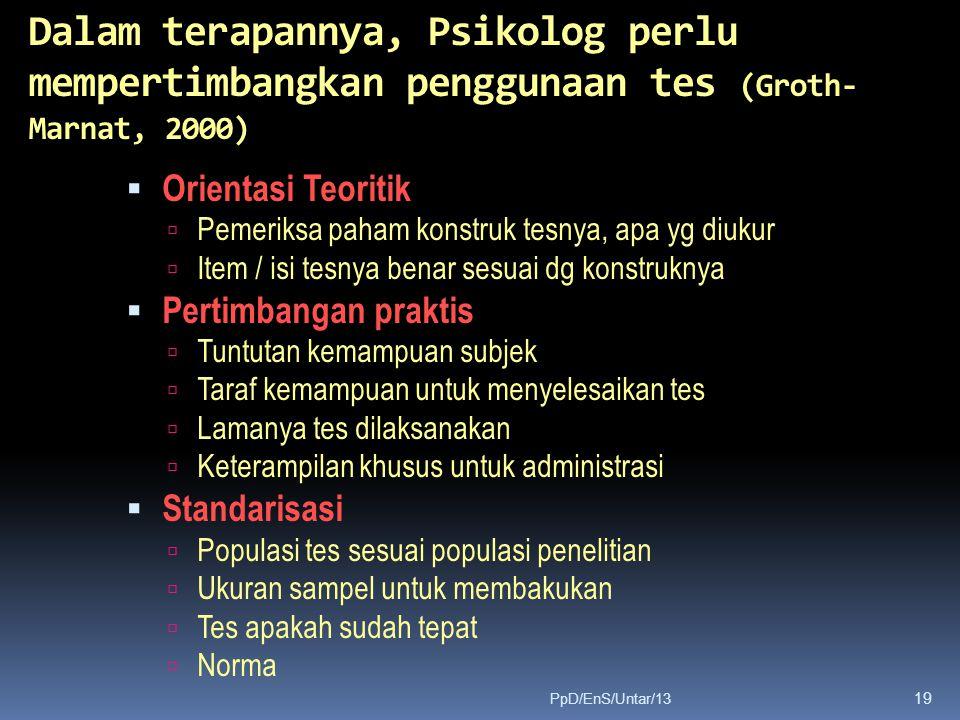 Dalam terapannya, Psikolog perlu mempertimbangkan penggunaan tes (Groth-Marnat, 2000)