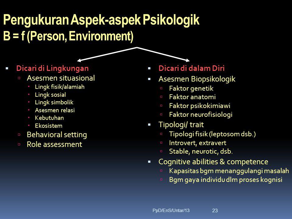 Pengukuran Aspek-aspek Psikologik B = f (Person, Environment)