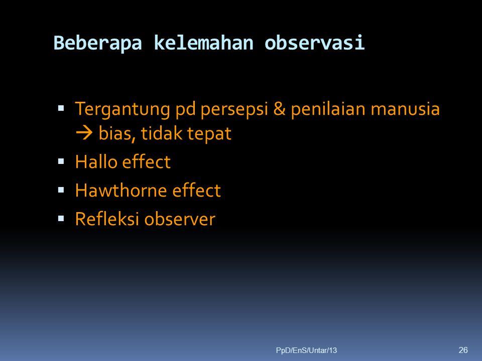 Beberapa kelemahan observasi