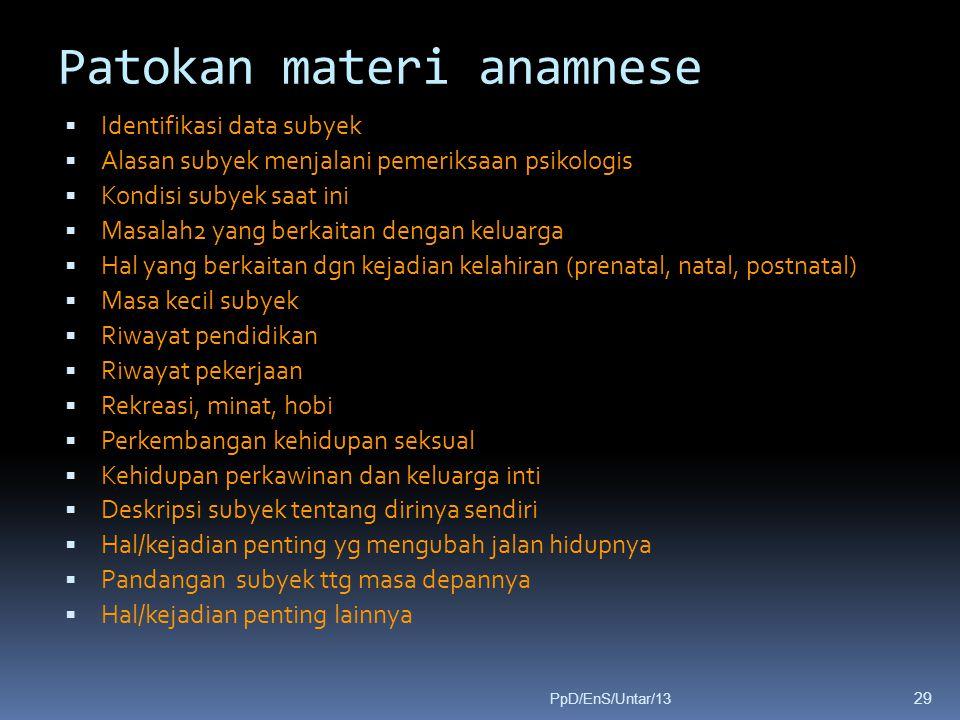 Patokan materi anamnese