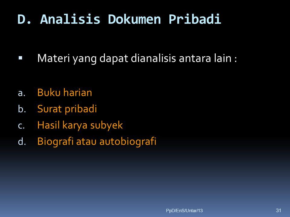 D. Analisis Dokumen Pribadi