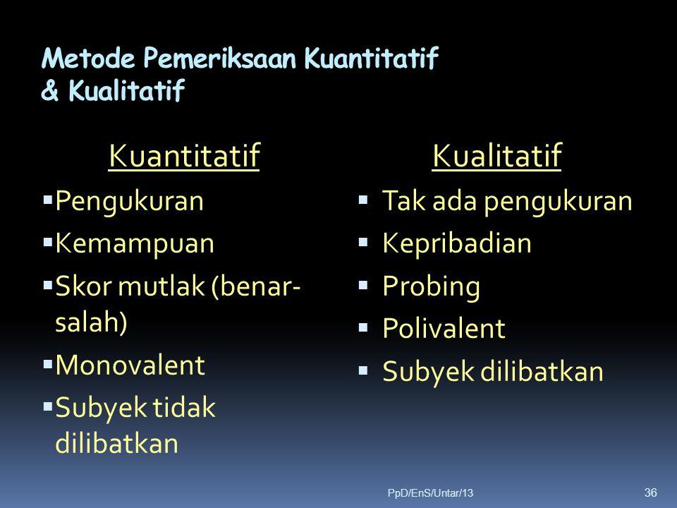 Metode Pemeriksaan Kuantitatif & Kualitatif