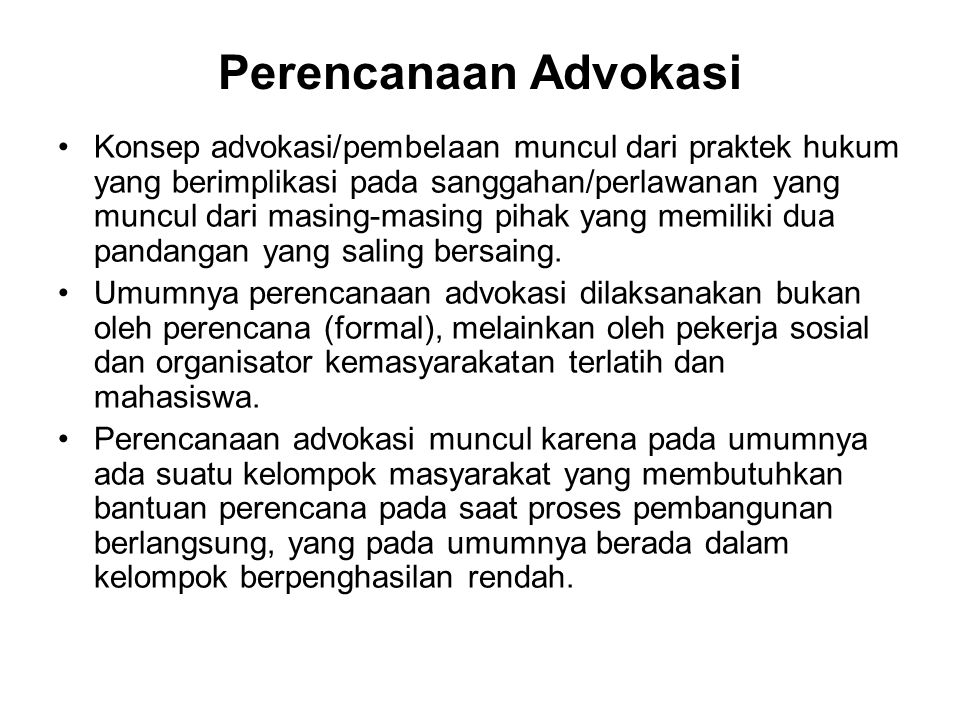 Perencanaan Advokasi