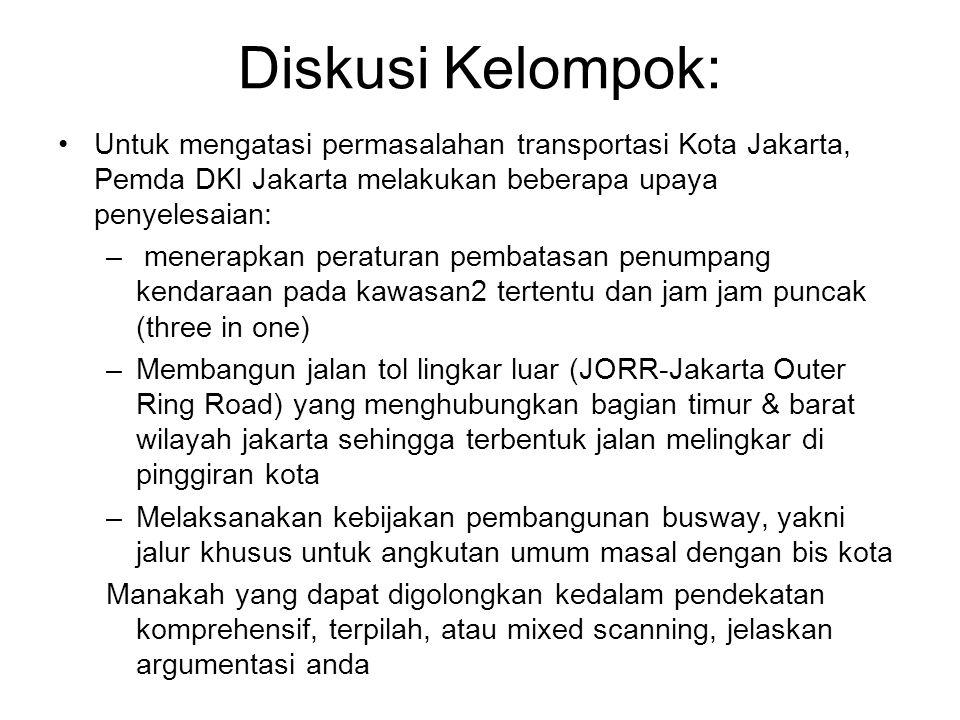Diskusi Kelompok: Untuk mengatasi permasalahan transportasi Kota Jakarta, Pemda DKI Jakarta melakukan beberapa upaya penyelesaian: