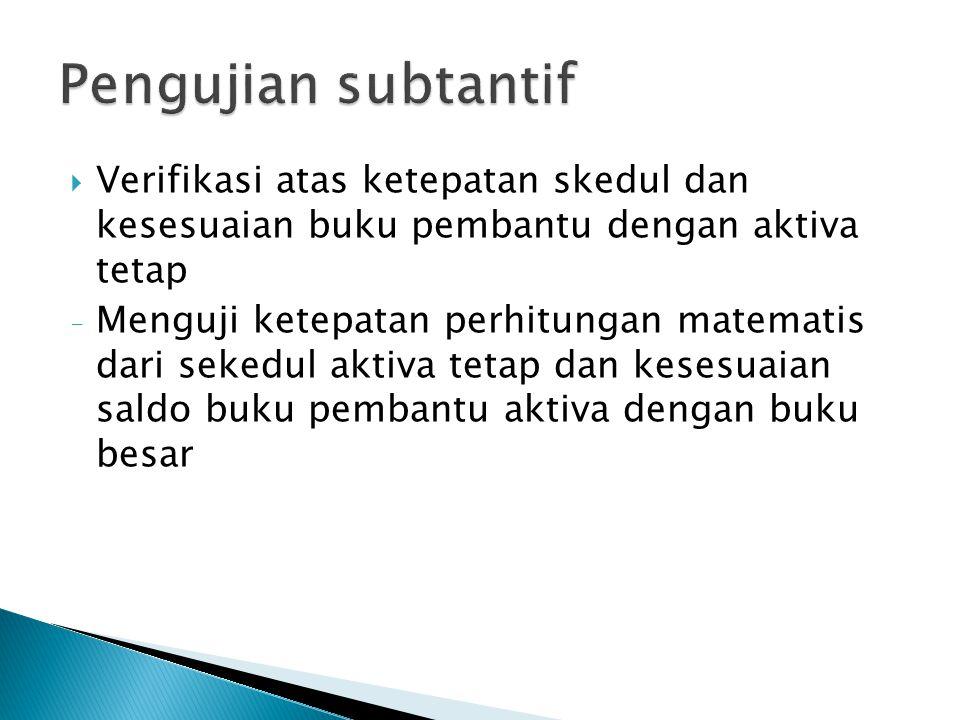 Pengujian subtantif Verifikasi atas ketepatan skedul dan kesesuaian buku pembantu dengan aktiva tetap.