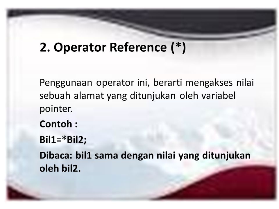 2. Operator Reference (*)