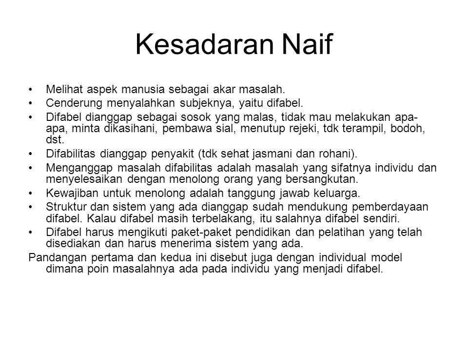 Kesadaran Naif Melihat aspek manusia sebagai akar masalah.