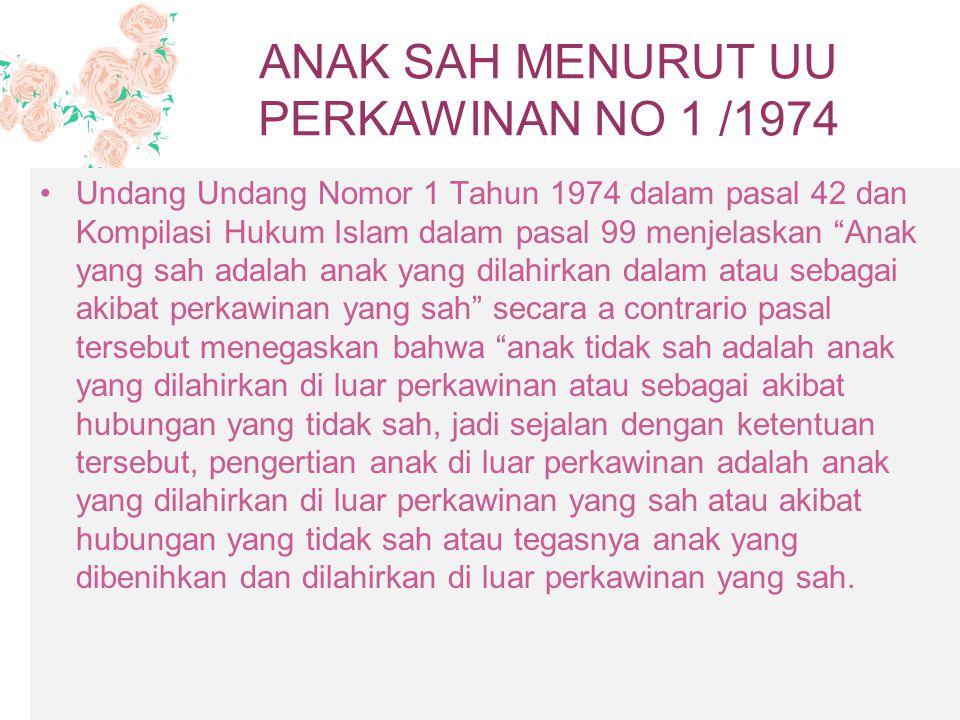 ANAK SAH MENURUT UU PERKAWINAN NO 1 /1974