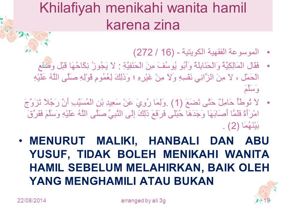 Khilafiyah menikahi wanita hamil karena zina