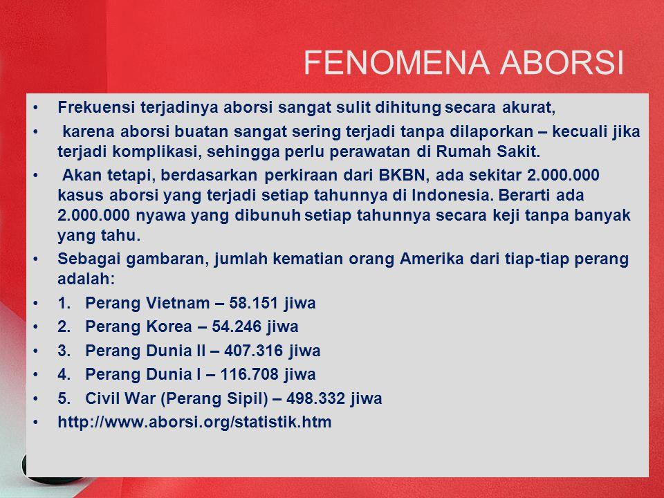 FENOMENA ABORSI Frekuensi terjadinya aborsi sangat sulit dihitung secara akurat,