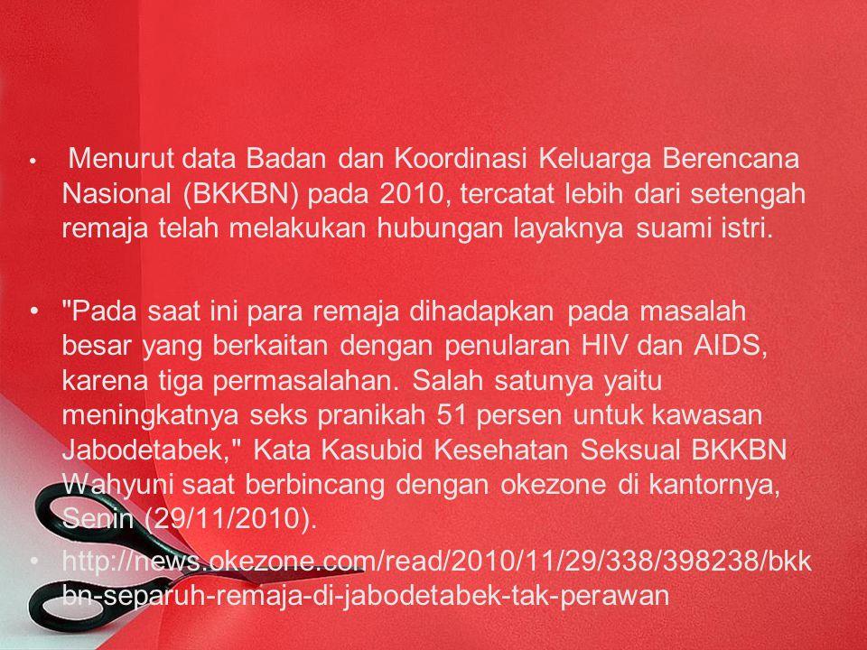 Menurut data Badan dan Koordinasi Keluarga Berencana Nasional (BKKBN) pada 2010, tercatat lebih dari setengah remaja telah melakukan hubungan layaknya suami istri.