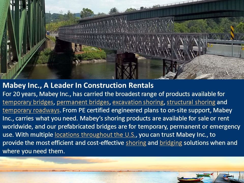 Mabey Inc., A Leader In Construction Rentals