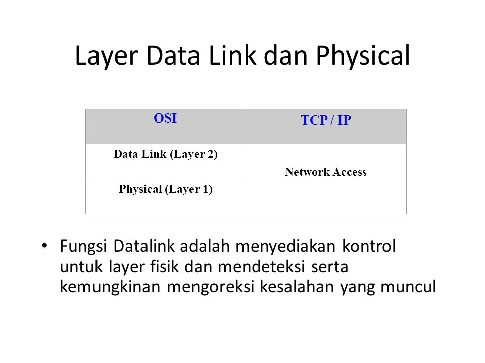 Layer Data Link dan Physical