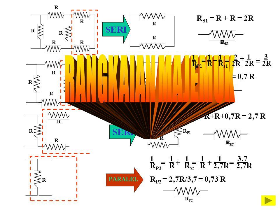 RANGKAIAN MAJEMUK RS1 = R + R = 2R RP1 =2/3R = 0,7 R