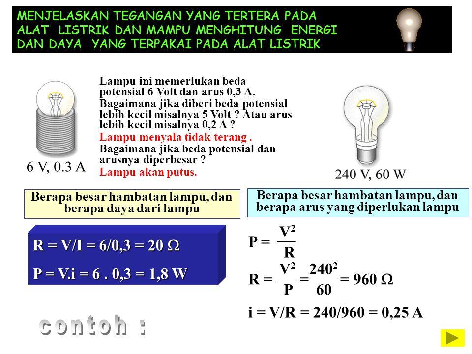 contoh : V2 R = V/I = 6/0,3 = 20 W P = R P = V.i = 6 . 0,3 = 1,8 W