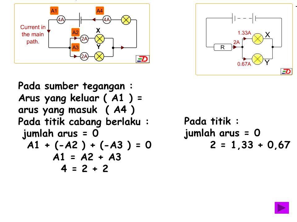 Pada sumber tegangan : Arus yang keluar ( A1 ) = arus yang masuk ( A4 ) Pada titik cabang berlaku :