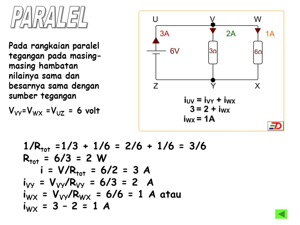 PARALEL 1/Rtot =1/3 + 1/6 = 2/6 + 1/6 = 3/6 Rtot = 6/3 = 2 W