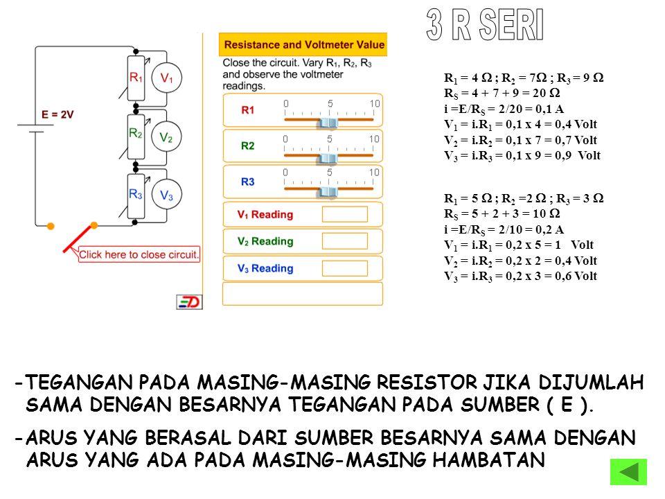 3 R SERI R1 = 4 W ; R2 = 7W ; R3 = 9 W. RS = 4 + 7 + 9 = 20 W. i =E/RS = 2/20 = 0,1 A. V1 = i.R1 = 0,1 x 4 = 0,4 Volt.