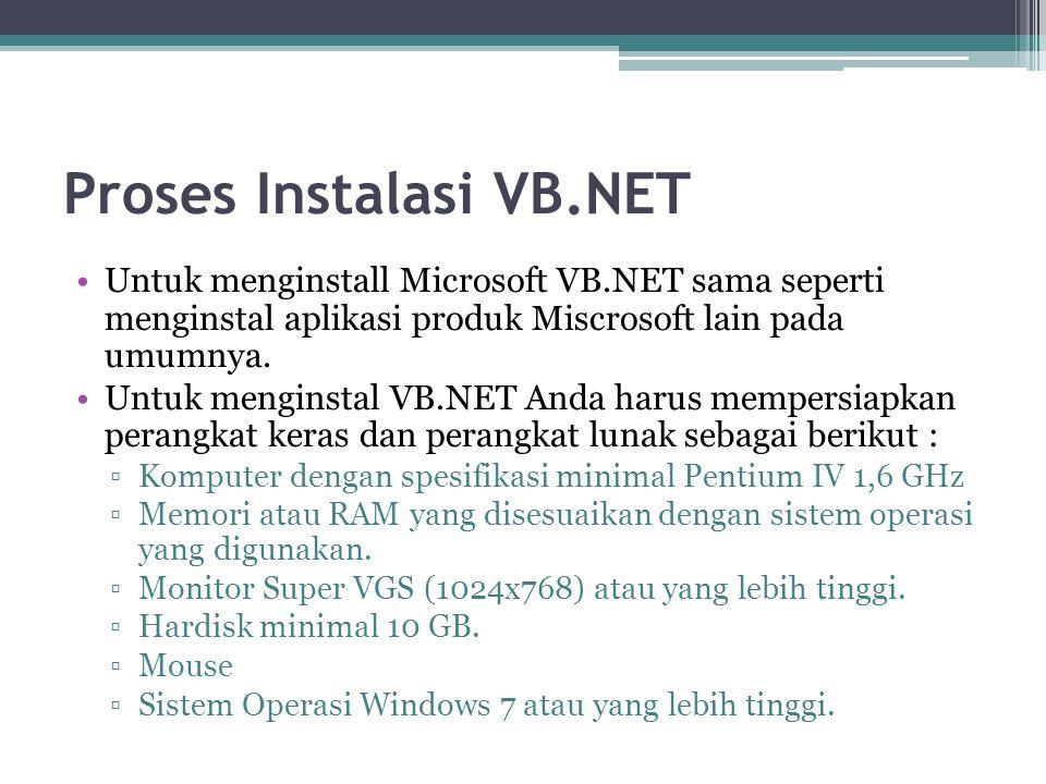 Proses Instalasi VB.NET