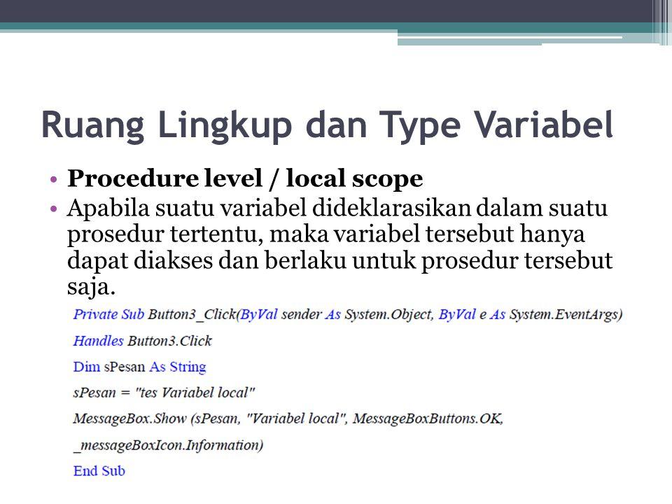 Ruang Lingkup dan Type Variabel