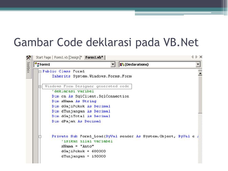 Gambar Code deklarasi pada VB.Net