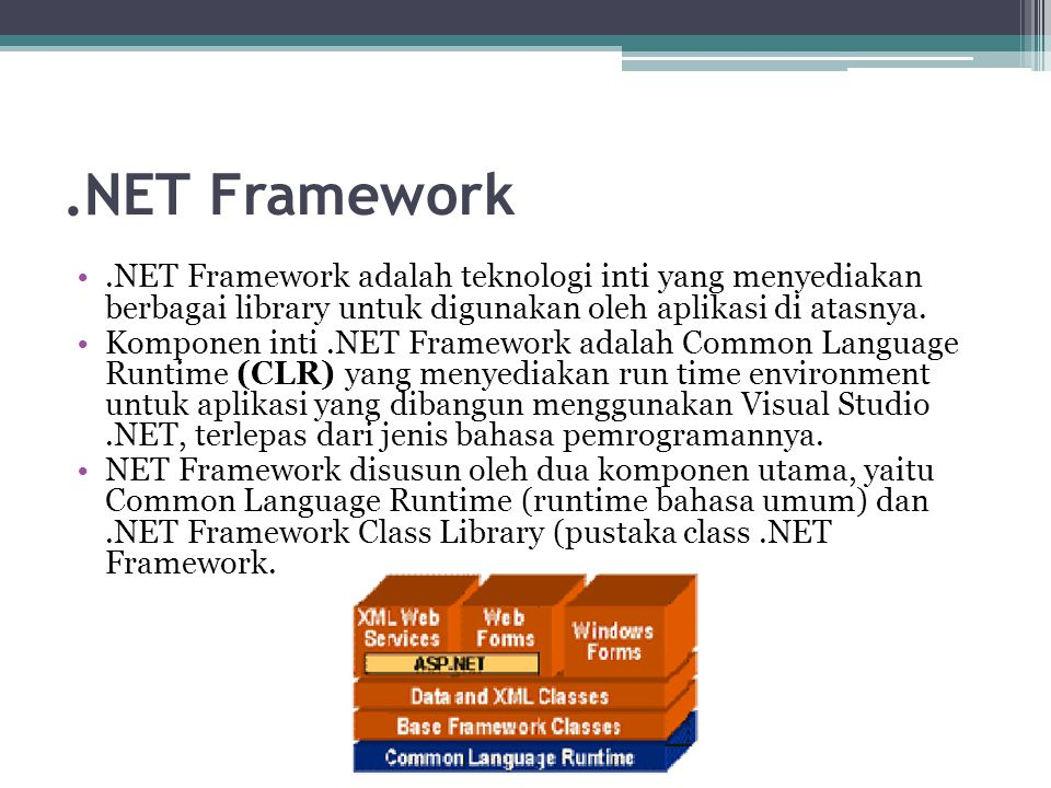 .NET Framework .NET Framework adalah teknologi inti yang menyediakan berbagai library untuk digunakan oleh aplikasi di atasnya.