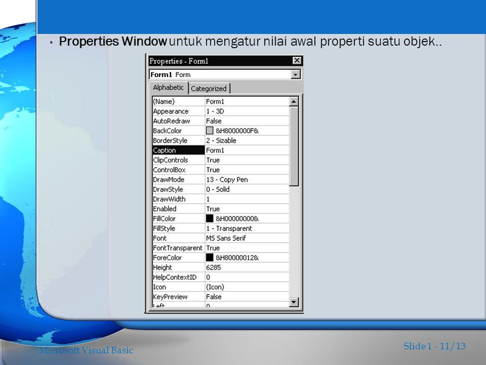 Properties Window untuk mengatur nilai awal properti suatu objek..