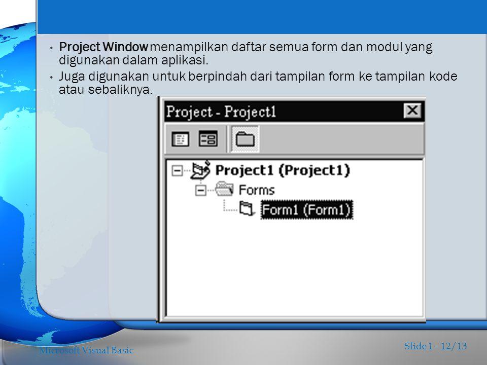 Project Window menampilkan daftar semua form dan modul yang digunakan dalam aplikasi.
