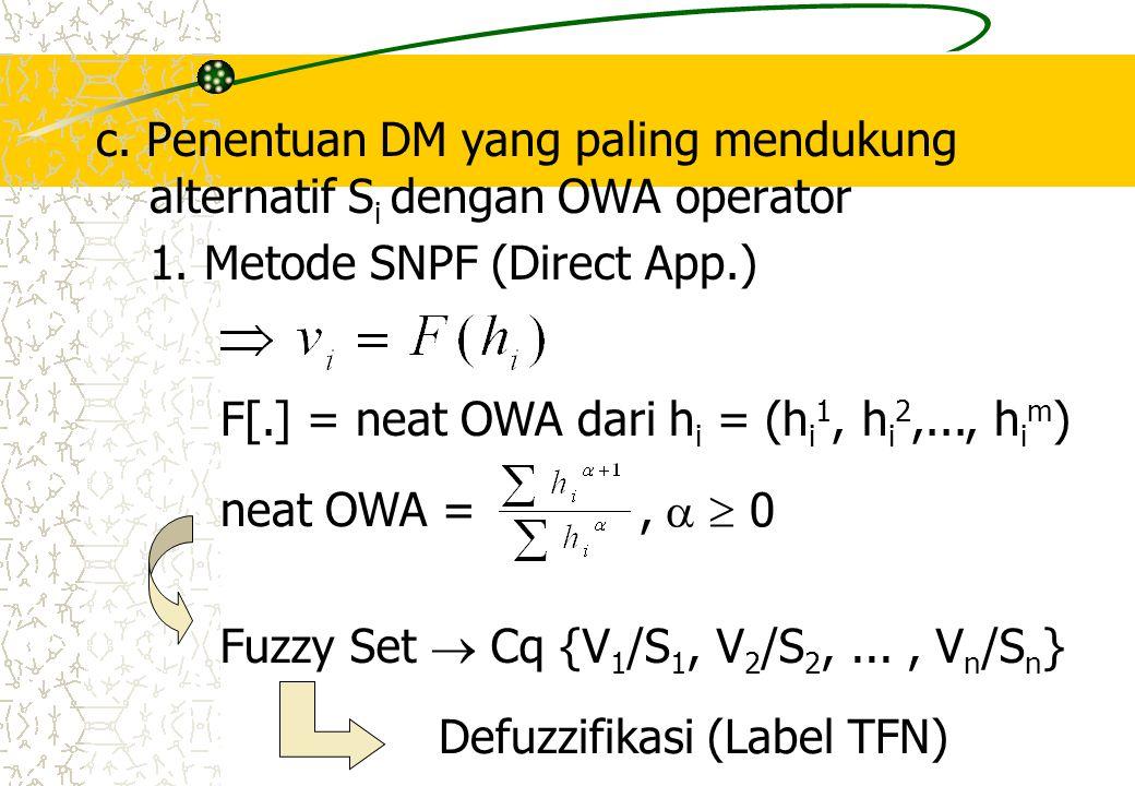 c. Penentuan DM yang paling mendukung alternatif Si dengan OWA operator