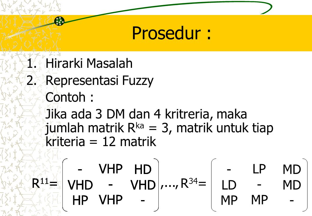 Prosedur : Hirarki Masalah Representasi Fuzzy Contoh :