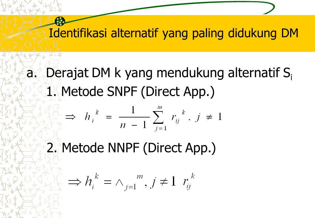 Identifikasi alternatif yang paling didukung DM