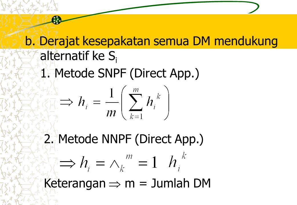 b. Derajat kesepakatan semua DM mendukung alternatif ke Si