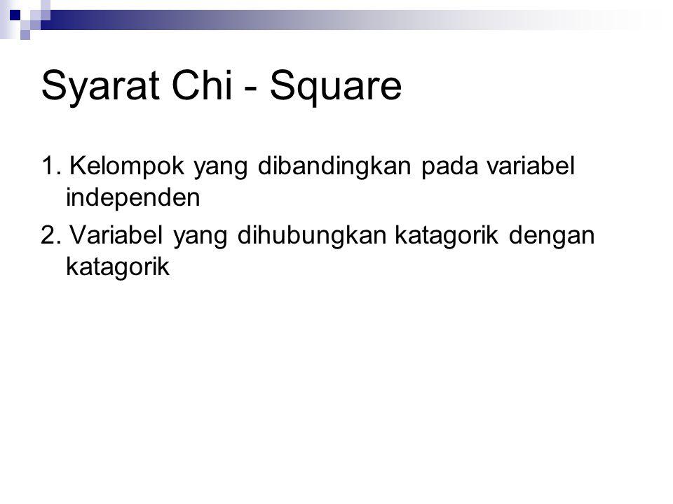Syarat Chi - Square 1. Kelompok yang dibandingkan pada variabel independen.