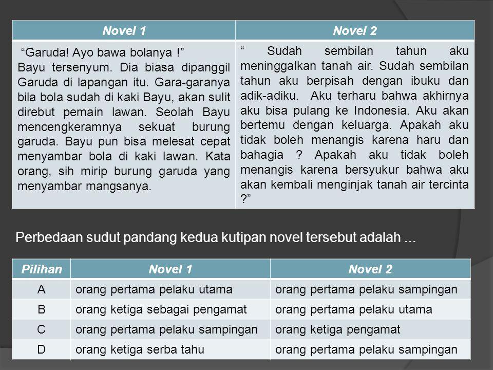 Hgd Perbedaan sudut pandang kedua kutipan novel tersebut adalah ... Novel 1. Novel 2.
