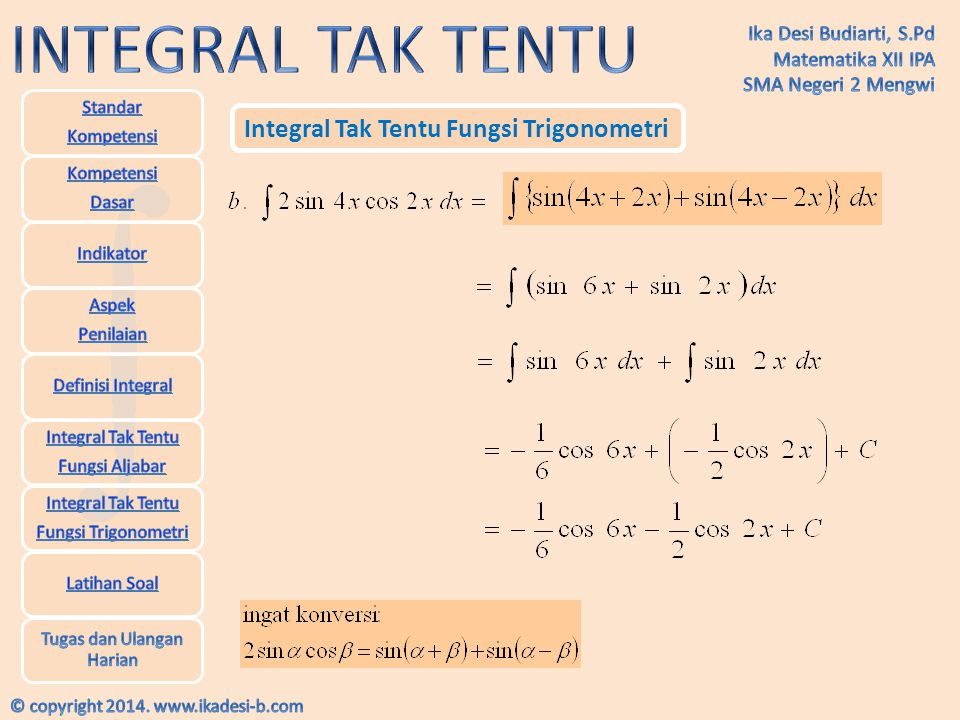 Integral Tak Tentu Fungsi Trigonometri