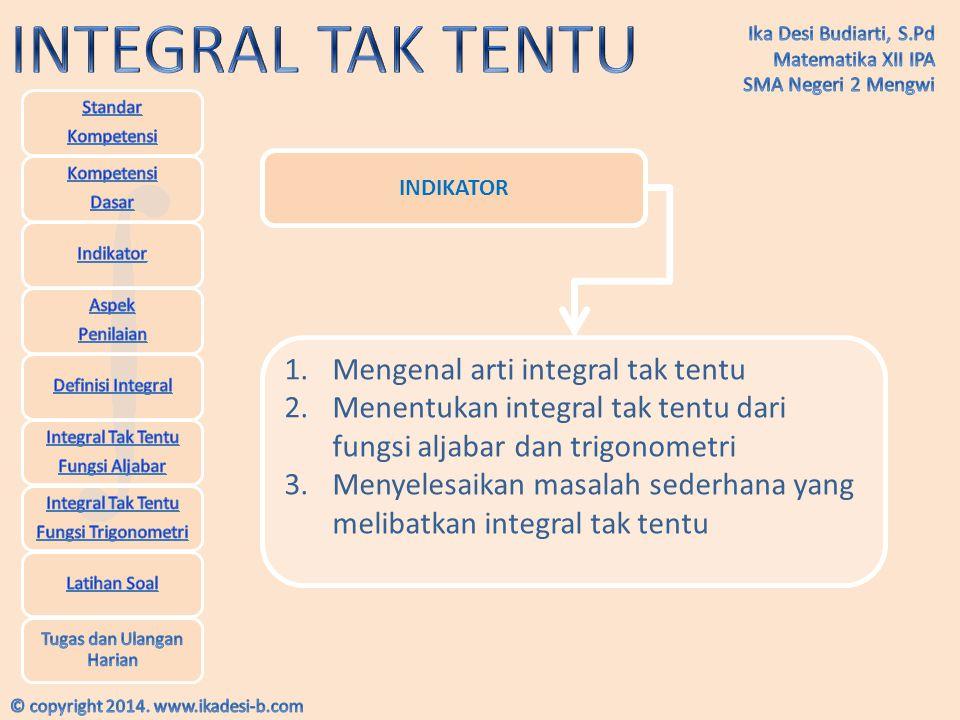 Mengenal arti integral tak tentu