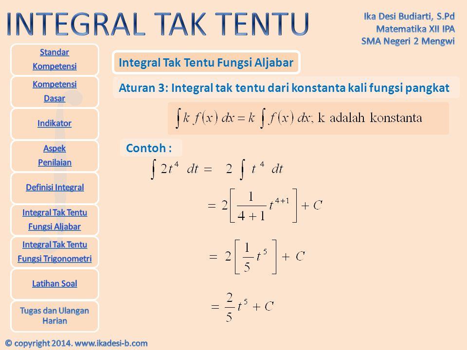 Integral Tak Tentu Fungsi Aljabar