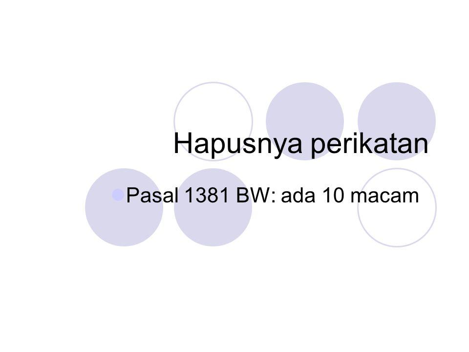 Hapusnya perikatan Pasal 1381 BW: ada 10 macam