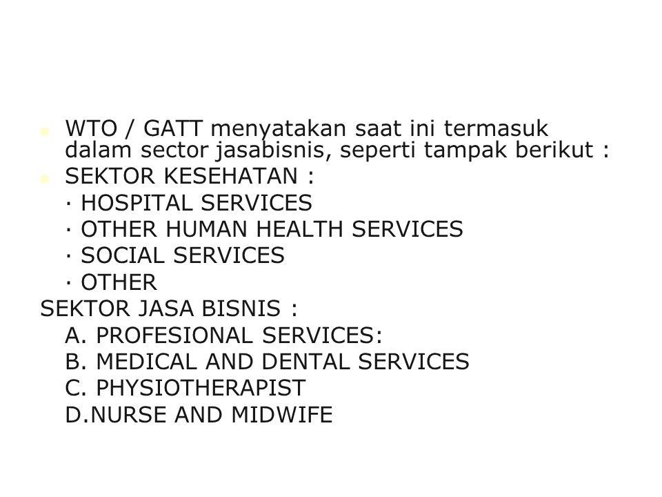 WTO / GATT menyatakan saat ini termasuk dalam sector jasabisnis, seperti tampak berikut :