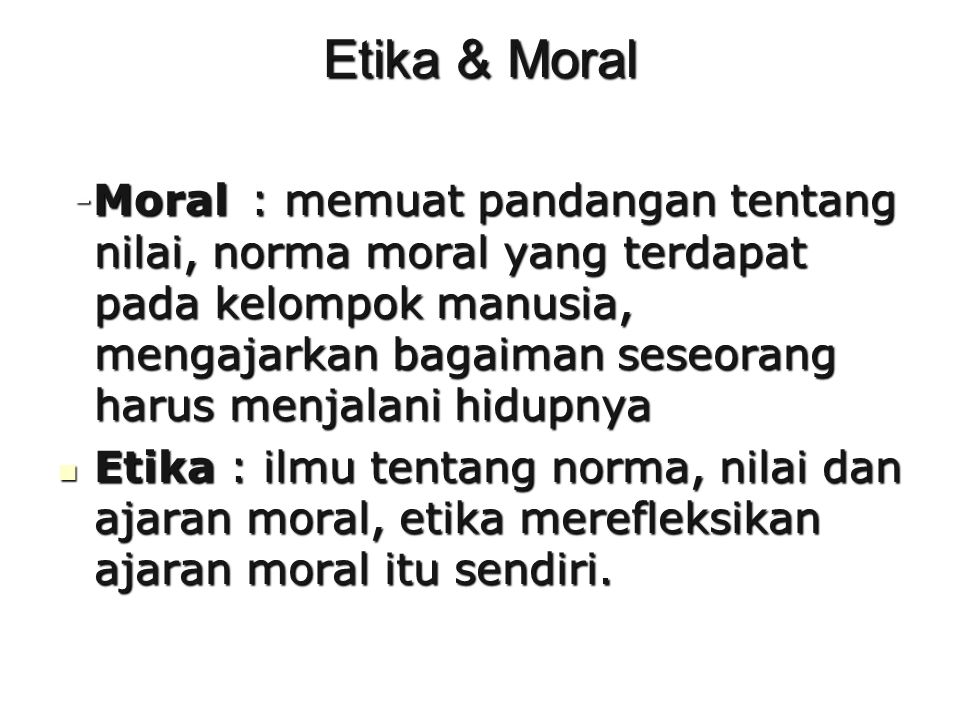 Etika & Moral